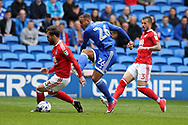 Kenneth Zohore of Cardiff city © has a shot blocked. EFL Skybet championship match, Cardiff city v Nottingham Forest at the Cardiff City Stadium in Cardiff, South Wales on Easter Monday 17th April 2017.<br /> pic by Andrew Orchard,