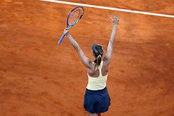 May 18, 2018 - Rome, Italy - Tennis WTA Internazionali d'Italia BNL quarter-finals..Maria Sharapova (RUS) celebrates the victory at Foro Italico in Rome, Italy on May 18, 2018. (Credit Image: © Matteo Ciambelli/NurPhoto via ZUMA Press)