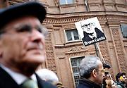 Il 21 Marzo 2015 si celebra  a Bologna la XX Giornata delle memoria e dell'impegno in ricordo delle vittime innocenti delle mafie.<br /> A Torino il 20 marzo l'associazione Libera ha organizzato una marcia commemorativa per le vittime delle associazioni mafiose.<br /> <br /> A banner with the image of the magistrate Bruno Caccia is seen during the march against all kinds of mafia attitudes and to <br /> remember the innocent victims killed by different mafia organisations in Turin, Italy, March 20, 2015. <br /> On March 21st the national day of the remembering of innocent victims will be celebrated in Bologna, Italy.