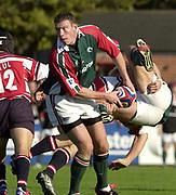 Gloucester, Gloucestershire, UK., 11th October 2003,  Kingsholm Stadium, Zurich Premiership Rugby, [Mandatory Credit: Peter Spurrier/Intersport Images],<br /> <br /> 11/10/2003 - Photo  Peter Spurrier<br /> 2003/04 Zurich Premiership Rugby: Gloucester v Leicester <br /> Tim Stimpson, look's round for support.