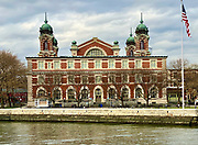 Main reception center building on Ellis Island in New York City