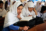 Students of all-female Gundi Pira Secondary School in earthquake devastated area of Pattika, Pakistan