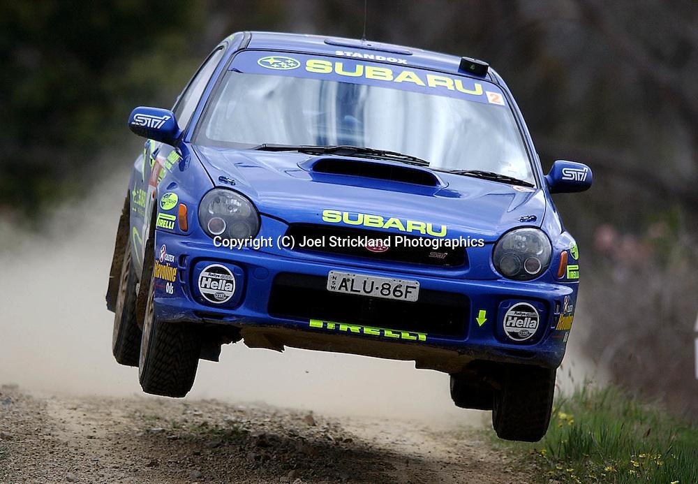 Cody Crocker & Greg Foletta.Subaru Impreza WRX.Motorsport-Rally.2003 NGK Rally of Melbourne.Yarra Valley, Victoria .5th of October 2003 .(C) Joel Strickland Photographics