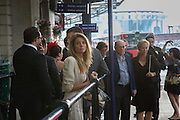 Taxi queue returning from ascot. Royal Ascot racegoers at Waterloo station. London. 18 June 2013.