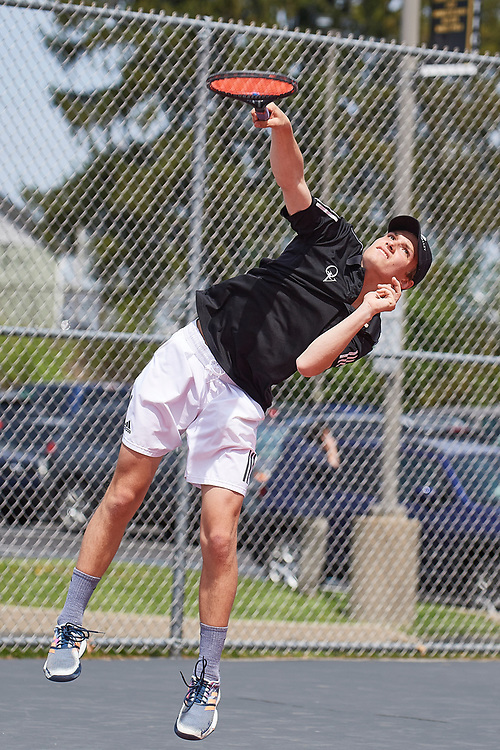 Wexford, PA - April 27:  During the Quaker Valley High School Varsity Boys Western Pennsylvania Interscholastic Athletic League Doubles Championship, early and quarter rounds on April 27, 2021 at North Allegheny School District tennis courts in Wexford, PA.  (Photo by Shelley Lipton)
