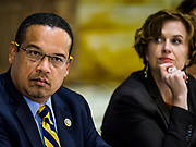 "18 APRIL 2017 - MINNEAPOLIS, MN: Rep. KEITH ELLISON, D-MN 5th District, and BETSY HODGES, mayor of Minneapolis, at a ""Town Hall"" style community meeting related to immigration at Incarnation Catholic Church in Minneapolis, MN. About 200 people attended the meeting. Congressman Ellison hosted the meeting.     PHOTO BY JACK KURTZ"