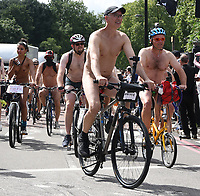 Hundreds of people cycled nude through the streets of London during an annual environmental protest  The World Naked Bike Ride to protests oil dependency and car culture photo by Krisztian  Elek