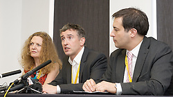 LtoR Joan Smith, Steve Coogan,Dr Evan Harris at the Hacked off Press Conference during the Liberal Democrats Annual Conference in Brighton, Tuesday September 25, 2012. Photograph by Elliott Franks / i-Images