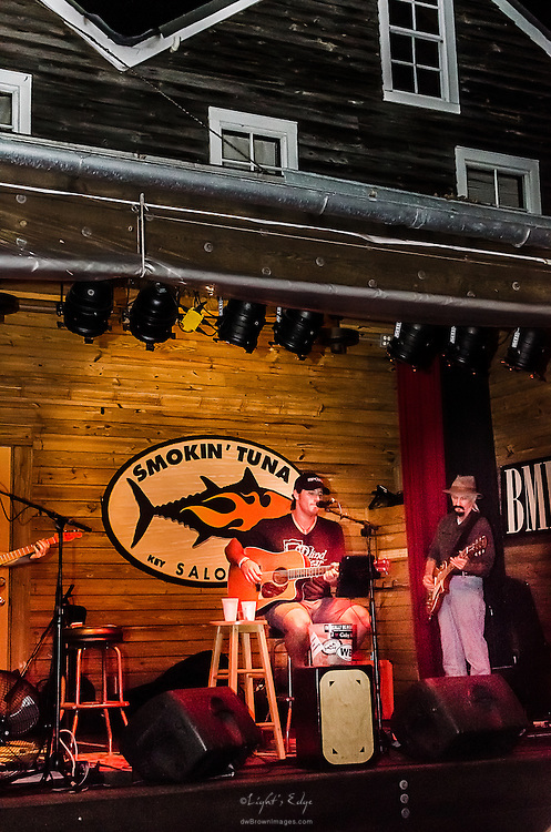 A view of the stage and structure housing it as Rusty Lemmon performs at The Smokin' Tuna in Key West, FL.