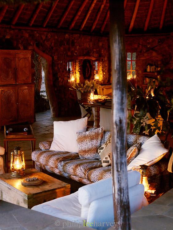 Lounge and communal room of Eco Tourism Camp, Chyulu Hills region, Kenya
