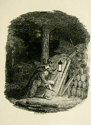 Guy Fawkes Laying the Train From the book ' Guy Fawkes; or, The gunpowder treason. An historical romance ' by William Harrison Ainsworth, with illustrations on steel by  George Cruikshank. Published in London, by George Routledge and sons, limited in 1841. Guy Fawkes (13 April 1570 – 31 January 1606), also known as Guido Fawkes while fighting for the Spanish, was a member of a group of provincial English Catholics who was involved in the failed Gunpowder Plot of 1605. He was born and educated in York; his father died when Fawkes was eight years old, after which his mother married a recusant Catholic.