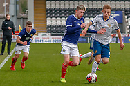 Scotland Captain Connor Smith (C)(Heart of Midlothian) & Russian goalscorer Vadim Konyukhov during the U17 European Championships match between Scotland and Russia at Simple Digital Arena, Paisley, Scotland on 23 March 2019.