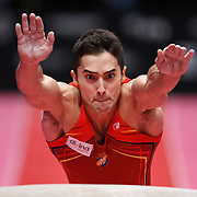 Ruben Lopez of Spain performs on the Vault at the Men's All-Round Final at the 46th FIG Artistic Gymnastics World Championships in Glasgow, Britain, 30 October 2015.