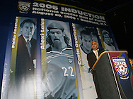 28 August 2006: U.S. Soccer president Sunil Gulati makes some remarks prior to the induction ceremony. The National Soccer Hall of Fame Induction Ceremony was held at the National Soccer Hall of Fame in Oneonta, New York.