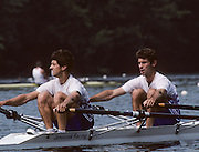 Lucerne, SWITZERLAND  GBR  LM2X. Stroke Robin WILLIAMS. 1992 FISA World Cup Regatta, Lucerne. Lake Rotsee.  [Mandatory Credit: Peter Spurrier: Intersport Images] 1992 Lucerne International Regatta and World Cup, Switzerland