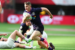 March 9, 2019 - Vancouver, BC, U.S. - VANCOUVER, BC - MARCH 09:  Max McFarland (11) of Scotland runs the ball in for a try vs England during day 1 of the 2019 Canada Sevens Rugby Tournament on March 9, 2019 at BC Place in Vancouver, British Columbia, Canada. (Photo by Devin Manky/Icon Sportswire) (Credit Image: © Devin Manky/Icon SMI via ZUMA Press)