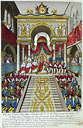 Coronation of Napoleon I, 2 December 1804.  Napoleon enthroned in Notre Dame, Paris. Coloured engraving.