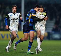 Horacio Agulla of Bath Rugby takes on the Worcester Warriors defence - Mandatory byline: Patrick Khachfe/JMP - 07966 386802 - 13/02/2016 - RUGBY UNION - Sixways Stadium - Worcester, England - Worcester Warriors v Bath Rugby - Aviva Premiership.