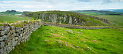 Tourist walking dog at Hadrian's Wall, blockstone construction boundary in Northumberland National Park at Steel Ring, England