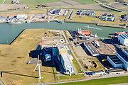 Nederland, Friesland, Harlingen, 28-02-2016; Harlingen met Nieuwe Industriehaven. Links, met gele opbouw, de omstreden afvalverbrandingsoven van Omrin.<br /> Harlingen harbor.<br /> luchtfoto (toeslag op standard tarieven);<br /> aerial photo (additional fee required);<br /> copyright foto/photo Siebe Swart