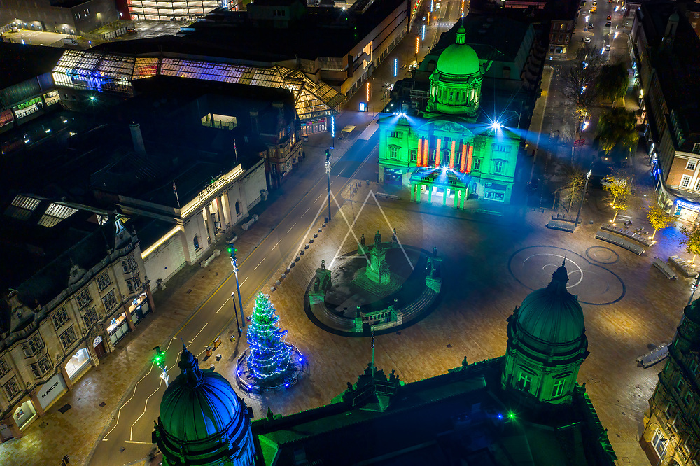 Aerial view of Queen Victoria square in Hull city center over the Martime museum at Christmas time, United Kingdom.