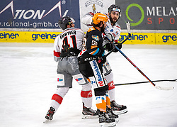 21.02.2021, Keine Sorgen Eisarena, Linz, AUT, EBEL, EHC Liwest Black Wings Linz vs iClinic Bratislava Capitals, 48. Qualifikationsrunde, im Bild v.l. Maxime Fortier (iClinic Bratislava Capitals), Sebastien Piche (Steinbach Black Wings 1992), Denis Hudec (iClinic Bratislava Capitals) // during the bet-at-home ICE Hockey League 48th qualifying round match between EHC Liwest Black Wings Linz and iClinic Bratislava Capitals at the Keine Sorgen Eisarena in Linz, Austria on 2021/02/21. EXPA Pictures © 2021, PhotoCredit: EXPA/ Reinhard Eisenbauer