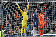 Southend United goalkeeper Nathan Bishop (13) holds his hands high before Luton Town corner during the EFL Sky Bet League 1 match between Southend United and Luton Town at Roots Hall, Southend, England on 26 January 2019.