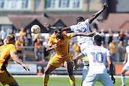 Mansfield's Mitchell Rose (19) is challenged by Newport's Joss Labadie (6). Skybet EFL league two match, Newport county v Mansfield Town at Rodney Parade in Newport, South Wales on Saturday 6th August 2016.<br /> pic by Carl Robertson, Andrew Orchard sports photography.