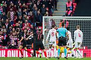 Andrej Kramarić (Croatia) scores a goal to give Croatia the lead during the UEFA Nations League match between England and Croatia at Wembley Stadium, London, England on 18 November 2018.