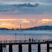 View of Lisbon and Tagus river by sunset