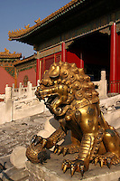 Forbidden City Lion, Beijing -The Forbidden City was the Chinese imperial palace from the Ming Dynasty to the end of the Qing Dynasty.  For almost five centuries, it served as the home of the Emperor and his household, as well as the ceremonial and political centre of Chinese government.  Built from 1406 to 1420, the complex consists of 980 surviving buildings. The Forbidden City was declared a World Heritage Site in 1987 and is listed by UNESCO as the largest collection of preserved ancient wooden structures in the world.