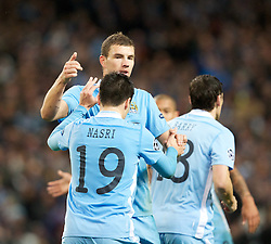 18.10.2011, City of Manchester Stadion, Manchester, ENG, UEFA CL, Gruppe A, Manchester City (ENG) vs FC Villarreal (ESP), im Bild Manchester City's Edin Dzeko celebrates his side's 1-1 goal with team-mate Samir Nasri against Villarreal CF// during UEFA Champions League group A match between Manchester City (ENG) and FC Villarreal (ESP) at City of Manchester Stadium, Manchaster, United Kingdom on 18/10/2011. EXPA Pictures © 2011, PhotoCredit: EXPA/ Propaganda Photo/ Vegard Grott +++++ ATTENTION - OUT OF ENGLAND/GBR+++++
