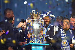 Wes Morgan of Leicester City (L) and Riyad Mahrez at Victoria park during the victory celebrations  - Mandatory by-line: Jack Phillips/JMP - 16/05/2016 - FOOTBALL - Leicester City FC, Sky Bet Premier League Winners 2016 - Leicester City Victory Parade