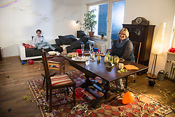 Living room is a mess after a party