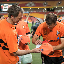 BRISBANE, AUSTRALIA - OCTOBER 7: Luke DeVere of the Roar signs autographs during the round 1 Hyundai A-League match between the Brisbane Roar and Melbourne Victory at Suncorp Stadium on October 7, 2016 in Brisbane, Australia. (Photo by Patrick Kearney/Brisbane Roar)