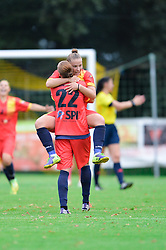 Players of Olympia Cluj celebrate after the UEFA Women's Champions League Qualifying Match between ZNK Teleing Pomurje (SLO) and Olimpia Cluj (ROU) at Sportni Park on August 16, 2015 in Beltinci, Slovenia. Photo by Mario Horvat / Sportida