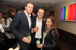 A party to promote the exclusive Puntacana Resort & Club - the Caribbean's Premier Golf & Beach Resort Destination, was held at The Groucho Club, 45 Dean Street London on 12th May 2010.<br /> <br /> Picture shows:-Left to right, ALISTAIR BALFOUR, ? and AMANDA SHEPHERD