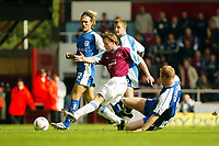 Photograph: Scott Heavey.<br />West Ham United v Millwall. Nationwide Division 1. 28/09/2003.<br />David Connolly fires West Ham in to a 1-0 lead