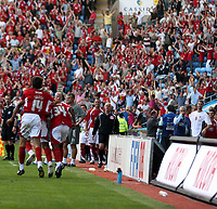 Photo: Mark Stephenson.<br /> Coventry City v Bristol City. Coca Cola Championship. 15/09/2007.Bristol's Darren Byfield (L) and Cole Skuse celebrate  there goal in front of there fans