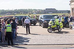 Former US president Barack Obama leaves St Andrews.