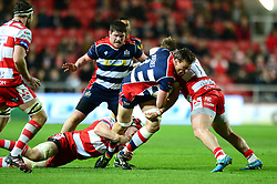 Sam Jeffries of Bristol Rugby is challenged by Paddy McAllister of Gloucester Rugby - Mandatory by-line: Dougie Allward/JMP - 24/03/2017 - RUGBY - Ashton Gate - Bristol, England - Bristol Rugby v Gloucester Rugby - Aviva Premiership