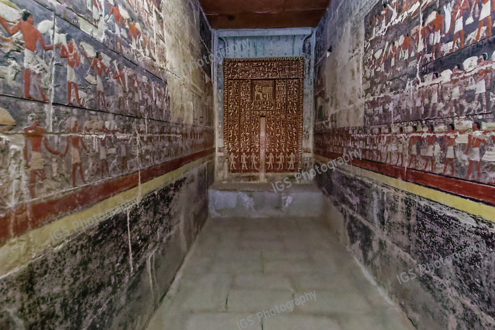 The tomb of Mehu is  filled with murals on the walls. The images portray a story of Mehu hunting and gathering a harvest and dancing.   It also depicts his 48 titles and Hieroglyphics