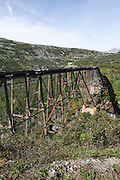Alaska, USA. The White Pass and Yukon Route from Skagway to Whitehorse. Disused steel bridge