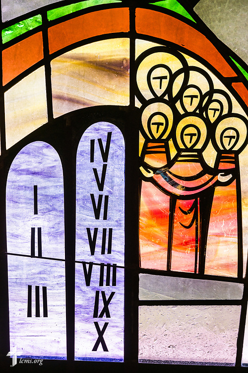 Stained glass depicting the Sermon on the Mount with Beatitudes (Matthew 5:1-12) and the Law given to God's people through Moses on Mt. Sinai, on Sunday, Aug. 2, 2020, at Elm Grove Lutheran Church, Elm Grove, Wis. LCMS Communications/Erik M. Lunsford