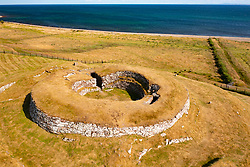 Aerial view from drone of  Carn Liath Broch, Golspie, Sutherland, Scotland, UK