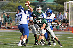 12 October 2013:  T.D. Conway is hurried by Tim Hollowed during an NCAA division 3 football game between the North Park vikings and the Illinois Wesleyan Titans in Tucci Stadium on Wilder Field, Bloomington IL