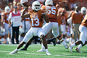 AUSTIN, TX - SEPTEMBER 26:  Jerrod Heard #13 of the Texas Longhorns drops back to pass against the Oklahoma State Cowboys on September 26, 2015 at Darrell K Royal-Texas Memorial Stadium in Austin, Texas.  (Photo by Cooper Neill/Getty Images) *** Local Caption *** Jerrod Heard