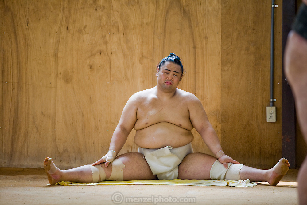 A member of the Professional Sumo Team (Musahigawa Beya) during practice in Nagoya, Japan, before a tournament.