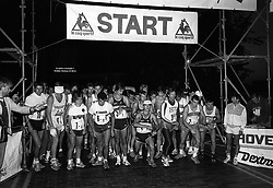 Start of the 1985 London to Paris International Team Triathlon three-day endurance race at the Tower hotel, St Katherine's Dock, London. Ten teams are entered who will run to Folkestone, swim the Channel and cycle to the centre of Paris.