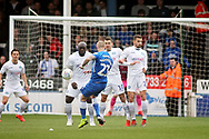 Peterborough Utd forward Marcus Maddison (21) slams this free kick against the Wycombe wall during the EFL Sky Bet League 1 match between Peterborough United and Wycombe Wanderers at London Road, Peterborough, England on 2 March 2019.
